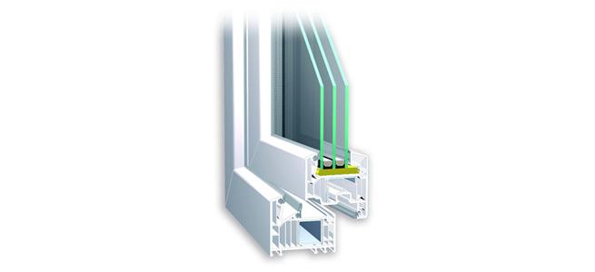 Sección ventana de PVC.